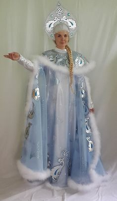 Holiday Costumes, Fancy Costumes, Ice Queen Costume, Costume Carnaval, Fantasy Gowns, Fancy Hats, Halloween Crafts For Kids, Russian Fashion, Folk Costume