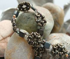 Classy Czechmate Tile and Superduo Bracelet Embellished with Czech Fire Polished Glass Beads; Bead Weaving; Crystal Bracelet; Superduo Beads