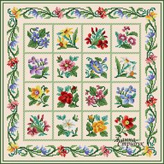 Code 071220 Square rug A palette of 36 colors in DMC. The scheme is suitable for embroidery with beads and petit point. Size 190x190 st. Price4$
