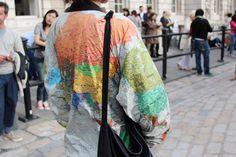 Map bomber jacket #streetstyle #lfw
