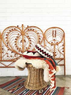 Vintage Rattan Wicker Peacock Headboard / King / by 6thAndDetroit