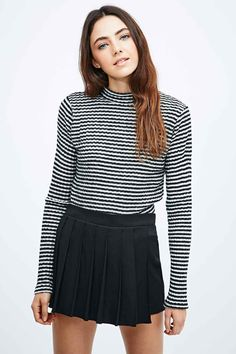 Cooperative Brushed Stripe Turtle-Neck Top in Mono - Urban Outfitters