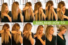 15 Braided Bangs Tutorial: Bang Braid How-to Braided bangs exude honest maidens. Braided bangs make you extra stylish and approachable. The braided bangs appears informal, plus, it's far more app. Summer Hairstyles, Trendy Hairstyles, Braided Hairstyles, Hairstyle Men, Hairstyles Haircuts, Braided Bangs Tutorial, Braiding Your Own Hair, About Hair, Looks Cool