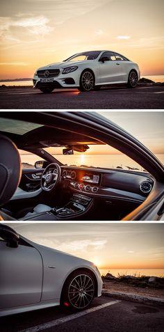 Sunset romantic with the Mercedes-Benz E-Class Coupé. Photos by Florian Haizmann (www. Mercedes E Class Coupe, Mercedes Benz Models, New Mercedes, New E Class, Benz E, Rc Model, Top Cars, Luxury Cars, Super Cars