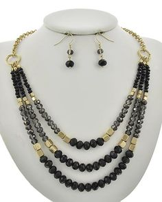 Matte Gold Tone / Black Glass Crystal / Lead&nickel Compliant / Metal / Fish Hook (earrings) / Multi Row / Necklace & Earring Set