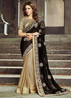 Incredible Black and Beige Zari Work Saree. Look utterly radiant in this saree. This saree will keep you comfortable all day long. This saree is quite comfortable to wear and easy to drape as well. This saree comes with matching unstitch Blouse. Lehenga Choli Designs, Bridal Lehenga Choli, Silk Lehenga, Georgette Sarees, Saree Wedding, Bollywood Lehenga, Wedding Wear, Rekha Saree, Bollywood Dress