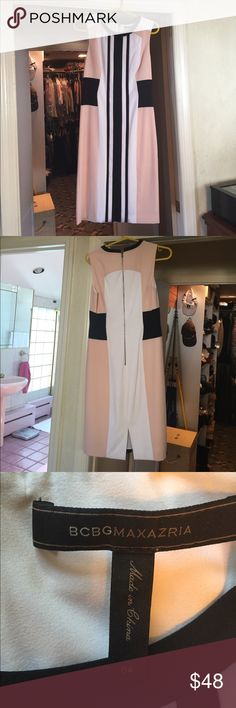 Summer colorblock dress BCBG MaxaAzria summer sheath.  Excellent used condition.  Blush, black and white.  Light and cool.  Perfect for the office or a brunch. BCBGMaxAzria Dresses Midi