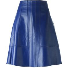 Proenza Schouler Paneled a-Line Skirt ($692) ❤ liked on Polyvore featuring skirts, bottoms, blue, high-waist skirt, high waisted a line skirt, high waisted skirts, straight skirts and blue a line skirt