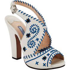Prada Whip-Stitched Slingback Sandals | Barney's