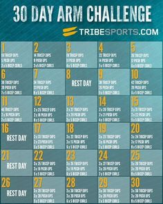 30 Day Arm Challenge Workouts - Workout at home with these challenge workouts. Learn how to workout at home with weights or your own bodyweight to get rid of flabby arms and get ready for summer. Reto Fitness, 30 Day Fitness, Fitness Diet, Health Fitness, Tone Fitness, Health Goals, Health Tips, Muscle Fitness, Health Care