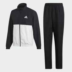 Club Track Suit Black / White DU0887 Adidas Tracksuit, Adidas Performance, Costume, Club, Black Adidas, Woven Fabric, Sport, Adidas Jacket, Suits