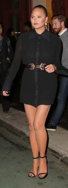 4df2151e4c3 Who made Chrissy Teigen's ankle strap sandals, shirt dress, belt, and  handbag?