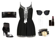 """""""Untitled #2828"""" by doinacrazy ❤ liked on Polyvore featuring Schutz, Ally Fashion, Hermès, Quay and Illamasqua"""