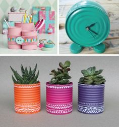 Going Green by Recycling Metal Cans for Money Saving Home Decorating : metal crafts and green ideas to reuse and recycle metal containers Aluminum Can Crafts, Tin Can Crafts, Aluminum Cans, Metal Crafts, Diy And Crafts, Arts And Crafts, Decor Crafts, Recycling Containers, Metal Containers