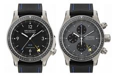 Bremont x Boeing Model 1 and Model 247 Titanium GMT. 43mm case. Made of Boeing's aviation-grade Ti 6-4, a special titanium stronger than the commercial grade stuff and is the same material used in airframes and engine components.