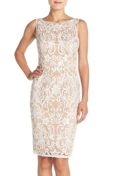 4042762a Adrianna Papell Sequin Embroidered Bateau Neck Sheath Dress available at  #Nordstrom Mothers Dresses, Special