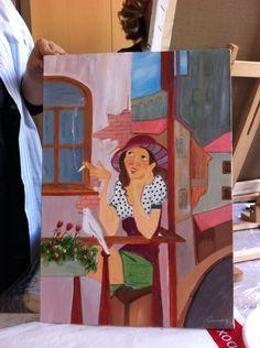 Balkondaki kız/yağlıboya-oil paint