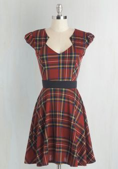Plaid and Subtract Dress in Tartan - Knit, Plaid, Casual, A-line, Cap Sleeves, Fall, Winter, Multi, Print, Best Seller, Variation, Mid-length, Top Rated