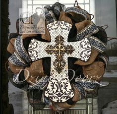 really like this one... think I could do it for le$$ ~   Antique Cross with Burlap deco mesh wreath by DzinerDoorz on Etsy, $105.00