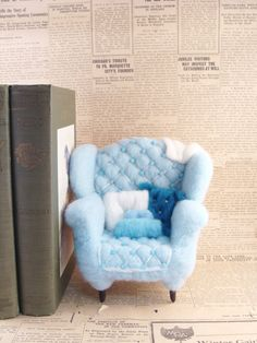 Needle Felted Miniature Blue Arm Chair - Arm Chair Adventures NeedleFelted Soft Sculpture by Bella McBride