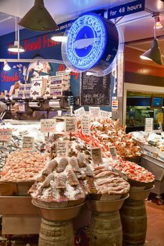 Fish Store at Pike Place Market Fresh seafood for a New Year's eve party! #Feelbeautiful # WHBM