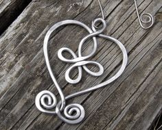 Celtic Heart Ornament -  Loopy Bliss Cross - Light Weight Aluminum Wire - Christmas Ornament. $15.50, via Etsy.