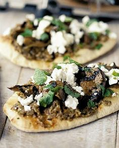 Low FODMAP Vegetarian Recipe and Gluten Free Recipe - Feta & eggplant pizzas   http://www.ibscuro.com/low_fodmap_vegetarian_recipes_feta_eggplant_pizzas.html