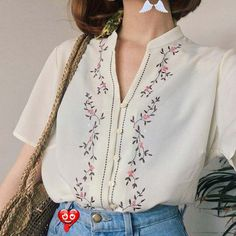 Free People - Women's Boho Clothing & Bohemian Fashion floral embroidered blouse<br> Mode Outfits, Casual Outfits, Fashion Outfits, Womens Fashion, Dress Outfits, Dress Casual, Fashion Ideas, Summer Outfits, Fashion Tips