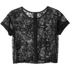 Monki Nami lace top ($11) ❤ liked on Polyvore featuring tops, t-shirts, shirts, tees, black magic, lace shirt, button shirts, embellished tops, embellished tee and black t shirt