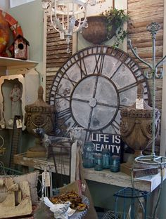 I love big clocks because they represent present, past, future, status and they're a unique piece of art for the wall or mantle. Big Clocks, Wall Clocks, Booth Ideas, Display Ideas, House Beautiful, Beautiful Homes, Garden Clocks, Oversized Clocks, Staging Furniture