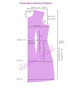 Proud Sewist : Cara lukis pola baju (basic pattern making) Dress Sewing Patterns, Clothing Patterns, Pattern Drafting Tutorials, Bodice Pattern, Sewing Basics, Fashion Sewing, Sewing Techniques, Sewing Clothes, Pattern Making