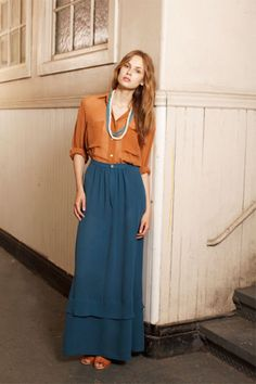 orange button-down with a blue maxi?? LOVE
