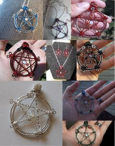 Wire gemstone pentacle by JensCraftyCreationz on Etsy