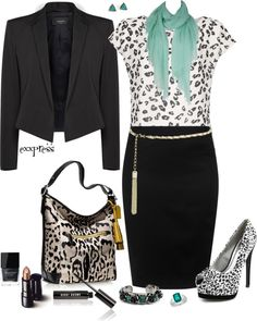 """""""Just Clothes = Pencil Skirt + Teal Scarf + Coach Bag"""" by exxpress ❤ liked on Polyvore"""