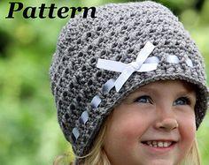 crochet+hat+with+bow+pattern | ... Crochet Beanie Pattern, Crochet Baby Hat Pattern, Ribbon and Bow Hat