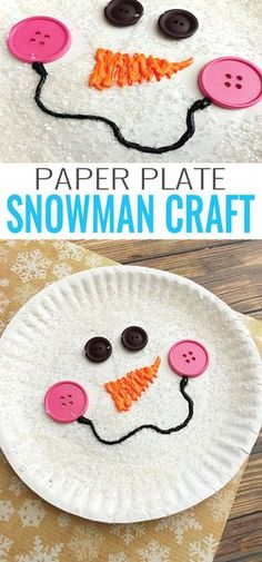 Paper Plate Snowman Craft Winter Crafts for Kids is part of Cute Kids Crafts Winter Let's make a paper plate snowman craft! This one will shine and sparkle just like it would if it were made out - Kids Crafts, Daycare Crafts, Winter Crafts For Kids, Classroom Crafts, Winter Fun, Projects For Kids, Craft Projects, Craft Ideas, Classroom Games