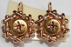 ANTIQUE VICTORIAN RARE R 18K GOLD RUBY PEARL FLOWER FINE HAND MADE EARRINGS 1880