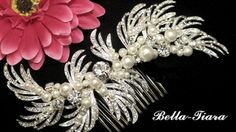 """Romantic bold and beautiful vine Swarovski pearl bridal hair comb.  measures about 5"""" long 2"""" at widest point. the perfect statement piece for your special day"""
