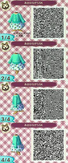 .Green sweater/skirt combo