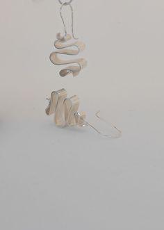 Ribbon earrings-Silver