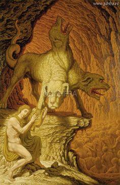 Quando Orfeu foi até o inferno encontrar sua amada,se depara com Cerberos o cão guardião. Para acalma-lo ele pega sua arpa e começa a toca-la, e o cão cai em sono profundo.E assim Orfeu continua sua procura por Eurídice.