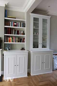 23 Alcove Shelving Ideas for your Living room | JV Carpentry Alcove Storage Living Room, Wall Cabinets Living Room, Alcove Cabinets, Built In Shelves Living Room, Cupboards, Alcove Bookshelves, Alcove Shelving, Shelving Design, Shelving Units