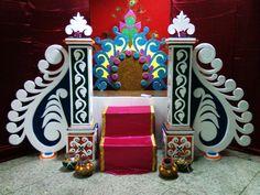 Thermocol art by NayanKamaliya on DeviantArt Gauri Decoration, Mandir Decoration, Ganapati Decoration, Diwali Decorations, Stage Decorations, Festival Decorations, Flower Decorations, Thermocol Craft, Ganpati Decoration Design