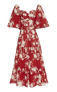 Get inspired and discover Johanna Ortiz trunkshow! Shop the latest Johanna Ortiz collection at Moda Operandi. Silk Floral Dress, Eyelet Dress, Pretty Dresses, Beautiful Dresses, Look Fashion, Womens Fashion, Cotton Dresses, Women's Dresses, Fashion Dresses