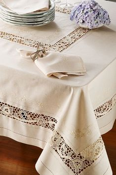 Fancy dinners or birthdays when I would invite all my friends and my parents would bring all their friends. It was dreamy Linen Tablecloth, Table Linens, Tablecloths, Gifts For New Parents, Cut Work, Linens And Lace, Table Toppers, Home Textile, Handicraft