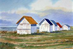 The beach cabins of Gouville sur mer, Watercolor - hut Beach Watercolor, Beach Scenes, Beach Art, Strand, France, House Styles, Michel, Painting, Recherche Google
