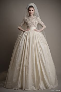 ersa atelier wedding dresses 2015 charlotte ball gown lace bodice sleeves