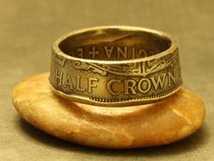 Coin ring, size 11 made from a half crown from the United Kingdom. This coin was minted the last year before the UK went to the metric system for their coins. It is copper with a protective coating. Metric System, Mens Valentines Gifts, Coin Ring, Indie Brands, United Kingdom, Coins, Rings For Men, Copper, Stuff To Buy