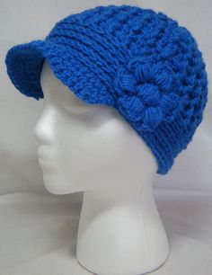 Crocheted News Boy Hat Royal BlueNewsboy Cap by CheriesSundries--one of my daughter's fave styles!!! She'll have one in every color pretty soon! Fun hats!