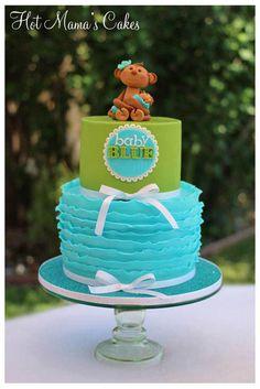 Tiffany Blue & Garden Green Ruffle Monkey Cake (Baby Blue)